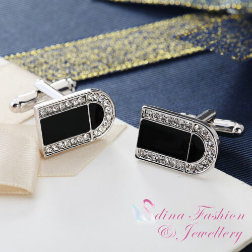 18K White Gold Plated Simulated Diamond & Opal Rectangle Men`s Cufflinks