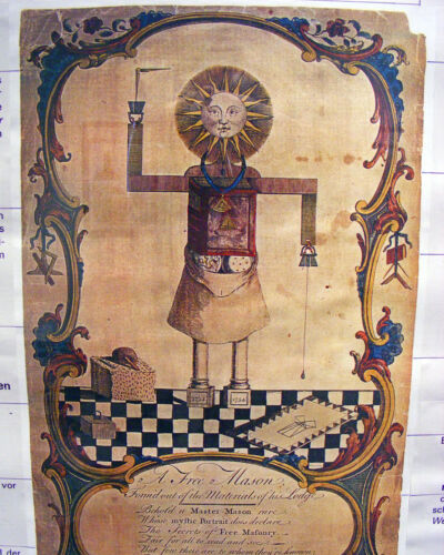 Vintage Freemason Illuminati Painting 8x10 Real Canvas Giclee Art Print New