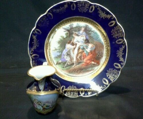 53510 ANTIQUE 1890s ROYAL VIENNA PORCELAIN 10&quot; EUROPA PLATE &amp; COURTSHIP CREAMER<br/>Plates & Chargers - 63531