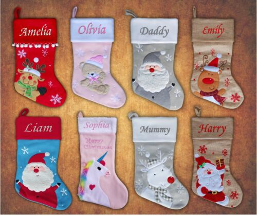 Personalised Kids Luxury Embroidered Xmas Stocking Sack Santa  Christmas 2018 <br/> FREE Guaranteed Delivery Before Christmas