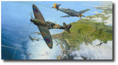 The Battle for Britain (King Ed) by Robert Taylor - Spitfire Me109- 6 Signatures