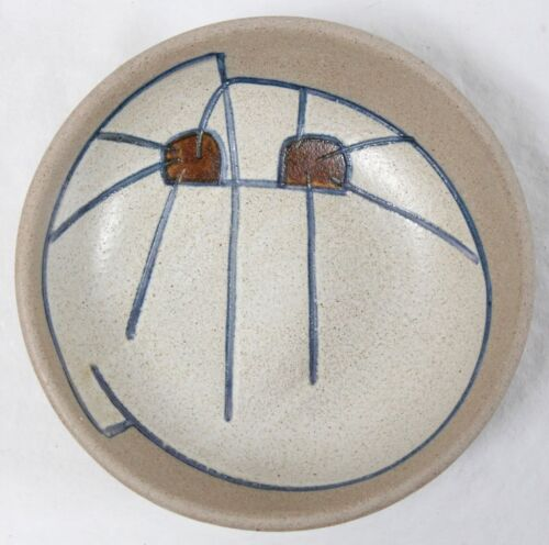Mid Century Modern Abstract Handcrafted Pottery Bowl Dish Cat Signed Vintage