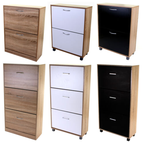 Wooden Shoe Cabinet 2 3 Drawer Shoe Rack Storage Unit Cupboard Footwear Stand <br/> ✔ 3 COLOURS AVAILABLE  ✔ FREE DELIVERY  ✔ EASY ASSEMBLY