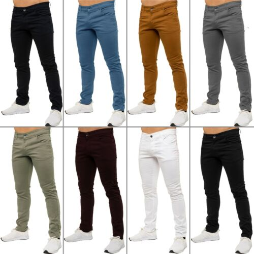 KRUZE Mens Slim Fit Chinos Jeans Skinny Stretch Trousers Pants Big &amp; Tall Sizes <br/> 9-Colours To Choose From - All Waist Sizes 28&#039;&#039; - 50&#039;&#039;