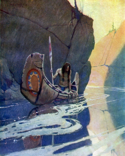 Native American Indian In Canoe Kayak Painting 8x10 Real Canvas Fine Art Print