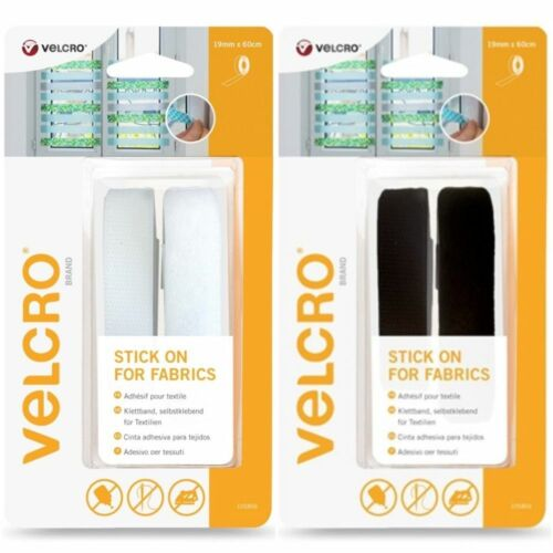 VELCRO® Brand Stick On Self Adhesive Strip For Fabric 19mm x 60cm Black / White