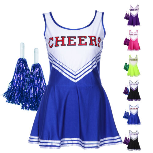Cheerleader Schoolgirl Fancy Dress Uniform Hen Party Costume Outfit Pompom XS-XL