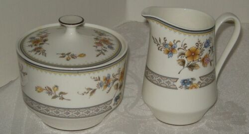 Mikasa Chippendale Sugar Bowl and Creamer, Pink, Brown, Blue Floral