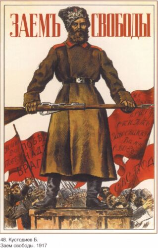Russia Soviet Revolution POSTER Soldier with Mosin Nagant Propaganda Full Color Other Militaria - 135
