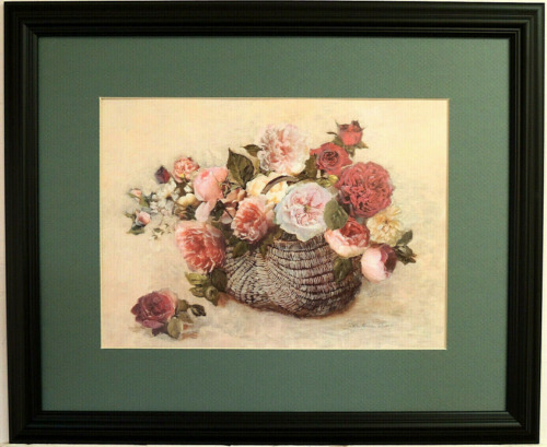 PINK ROSES RED ROSE PICTURE FLORAL STILL LIFE COUNTRY BASKET MATTED FRAMED 16X20