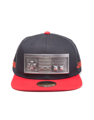 OFFICIAL NINTENDO - NES CONTROLLER METAL BADGE BLACK & RED SNAPBACK CAP