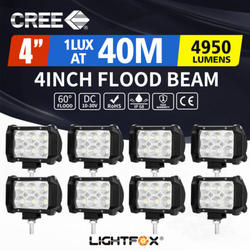 8X 4inch LED Work Driving Light Bar CREE FLOOD Offroad Reverse 35W/45W
