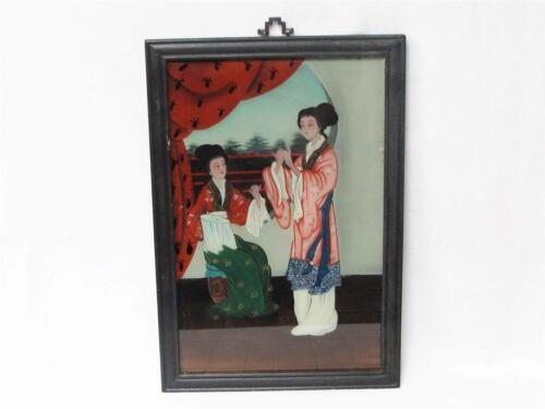 BEAUTIFUL VINTAGE CHINESE REVERSE GLASS PAINTING OF TWO CHINESE LADIES SOWING<br/>Paintings & Scrolls - 38124