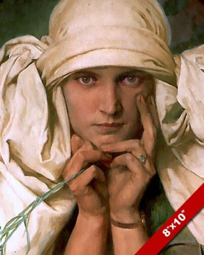 WOMAN ALPHONSE MUCHA'S DAUGHTER PORTRAIT FRENCH PAINTING ART REAL CANVAS PRINT