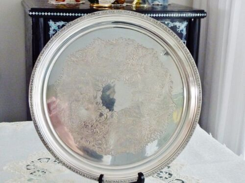 EXCEPTIONAL & EXQUISITE SILVER PLATED VINTAGE ROUND TRAY  ENGLAND.