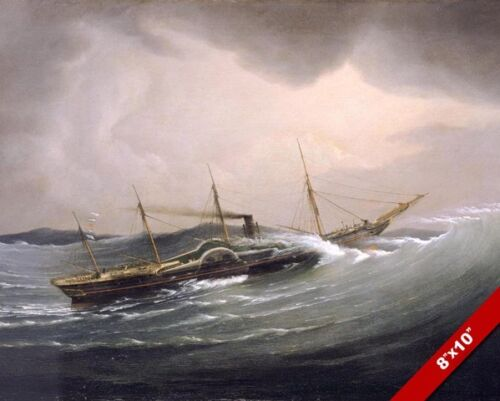 THE GREAT WESTERN STEAM PADDLE SHIP TIDAL WAVE PAINTING ART REAL CANVAS PRINT