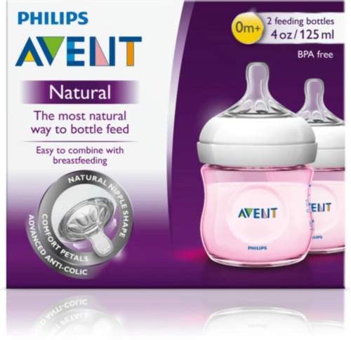 Avent  - 2 Pack 125ml / 4oz Natural Pink Feeding Bottle &amp; 0m+ Teat -  Brand New  <br/> Shipping Worldwide!     Brand New Direct From Pharmacy