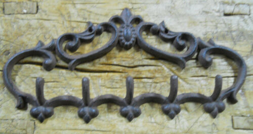 Cast Iron VICTORIAN STYLE Towel Coat Hooks Hat Hook Key Rack Rustic BROWN Finish<br/>Hooks & Brackets - 37913