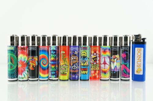 12 pcs Refillable Clipper Full Size Lighters Hippi And Trip Collection + Bonus