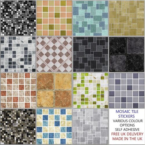 Mosaic Tile Stickers Transfers Kitchen Bathroom 6 inch Tiles - 15 Design Options