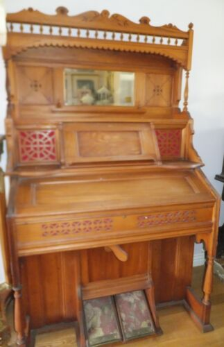 Antique Carved Wood Victorian Organ with Mirror<br/>Keyboard - 37975