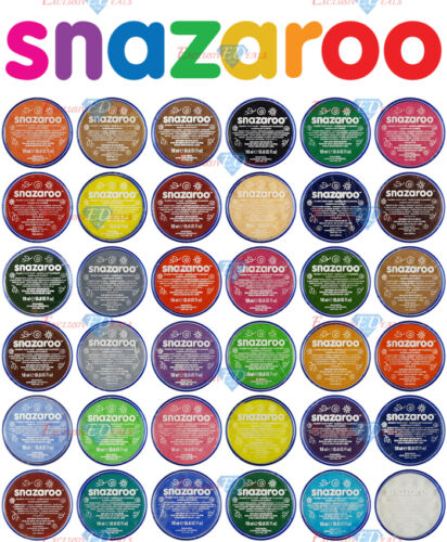 18ml SNAZAROO FACE &amp; BODY PAINT MAKE UP MANY COLOURS PAINTS FANCY DRESS STAGE <br/> GENUINE SNAZAROO FACE PAINTS ✔ OVER 20 THOUSAND SOLD ✔