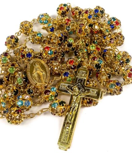 Colorful Zircon Beads Golden Rosary Catholic Necklace Miraculous Medal Cross <br/> Gold Crucifix Handmade Rosary Necklace from Jerusalem