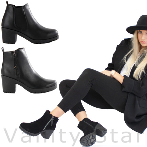 NEW LADIES WOMENS CHUNKY BLOCK HEEL GRIP SOLE CHELSEA ANKLE BOOTS SIZE 3-8
