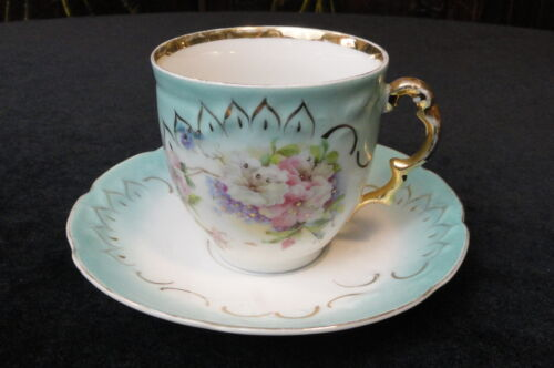 Vintage ANTIQUE Victorian PORCELAIN  Large TEA CUP &amp; SAUCER Aqua &amp; White Floral<br/>Cups & Saucers - 63525