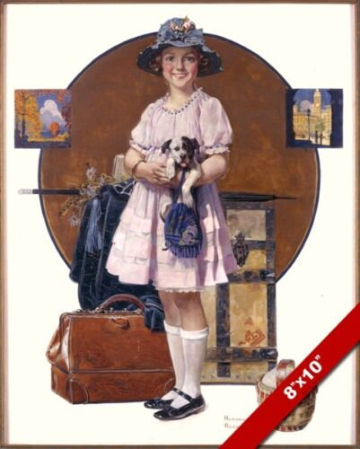NORMAN ROCKWELL GIRL'S SUMMER VACATION TRIP  ART OIL PAINTING PRINT ON CANVAS