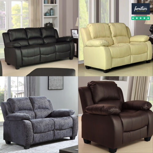 New Valerie Luxury Leather Sofa Suite Black Brown Cream 3+2+1 Three Piece Pouffe <br/> Leather-Aire Sofas BARGAIN PRICE 3 PIECE SUITE 3 COLOUR