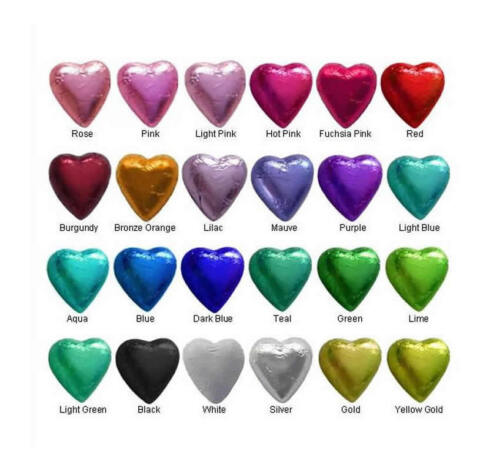 100 IN CADBURY CHOCOLATE HEARTS-CHOOSE YOUR COLOURS-WEDDING FAVOURS-FREE POSTAGE