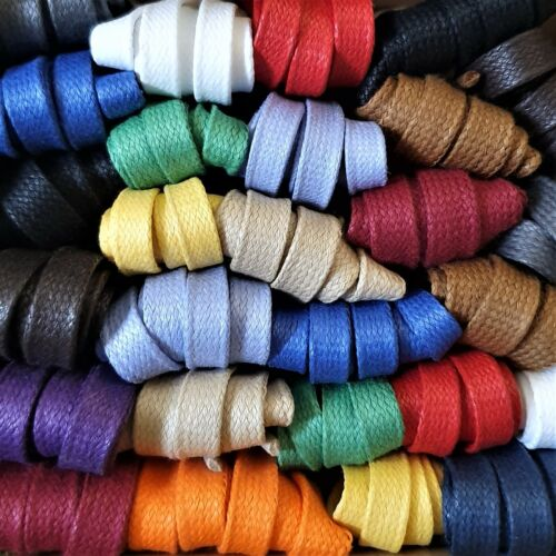 Waxed Cotton Laces - 9 mm Flat -  100% cotton polished with natural beeswax <br/> 15 colours - Made in England - 75 cm to 240 cm lengths