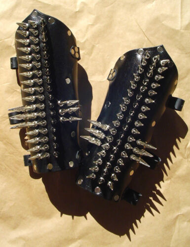 Leather Spiked Cross Bracers Arm Armor Heavy Metal Death Rock Punk MotorcycleReenactment & Reproductions - 156374