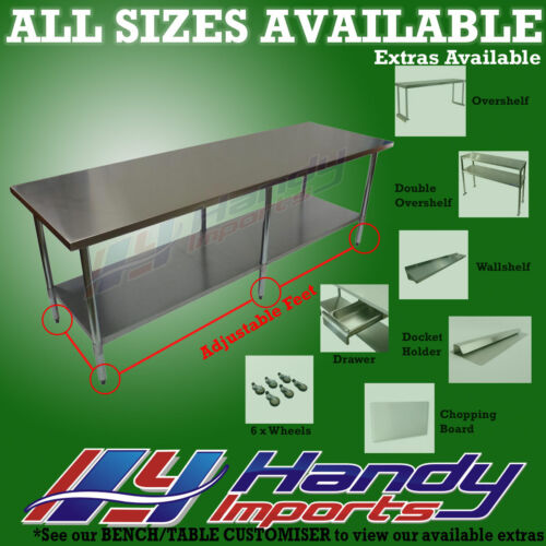 2134 x 762mm STAINLESS STEEL #430 COMMERCIAL FOOD PREP WORK BENCH OFFICE TABLE