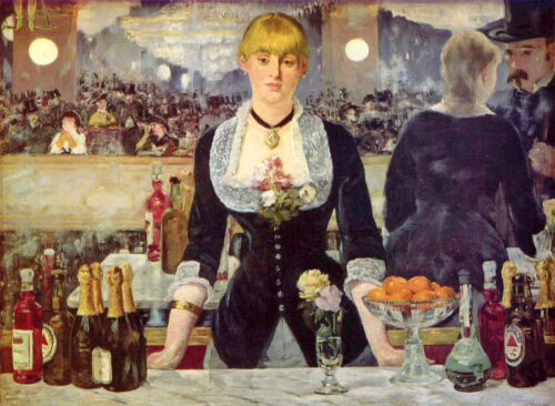 Wonderful Oil painting Edouard Manet - Folies Bergeres Bar - young girl standing