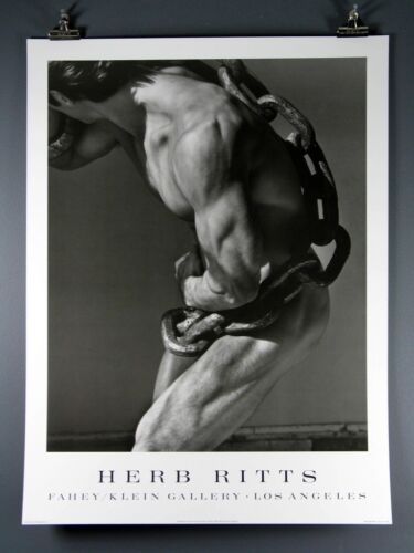 "Herb Ritts ""Man With Chain"" Black and White Large 24x32"" RARE Poster, Gay Nude"