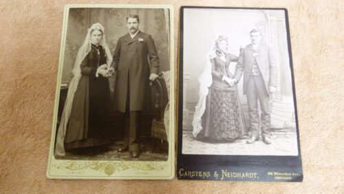 VTG 1800S LOT OF 2 WEDDING CDVS BRIDE & GROOM CABINET CARDS