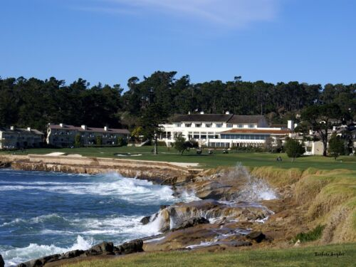 The 18th At Pebble Beach Golf  Monterey California Seascape Signed Canvas 20x30
