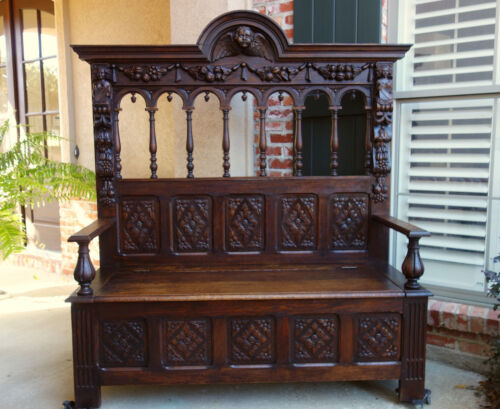 Antique French Carved Oak Hall Bench Pew Chest Renaissance Gothic Banquette
