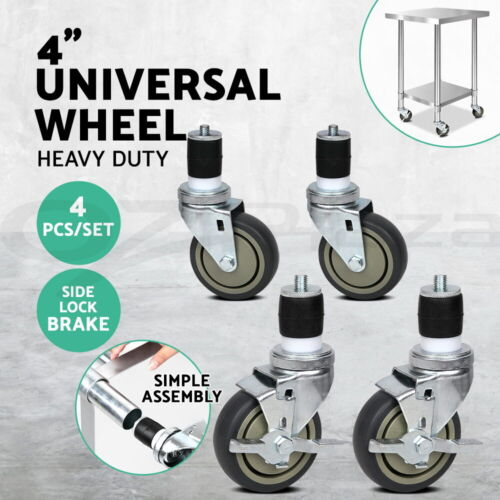 4&quot;  Swivel Castor Wheels Stainless Steel Kitchen Bench Work Trolley Prep Table <br/> 5% off may apply! Use PICK5 in checkout. T&amp;Cs apply.