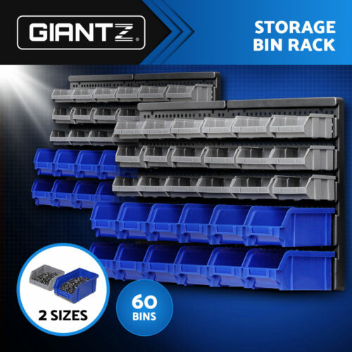 Giantz 60 Bin Wall Mounted Rack Storage Tools Organiser Shed Work Bench Garage <br/> 20% off with code PILATES. Ends 26/09. T&amp;Cs apply.