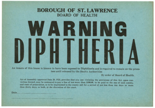 1923 Board of Health Infectious Disease Window Card Sign WARNING Diphtheria