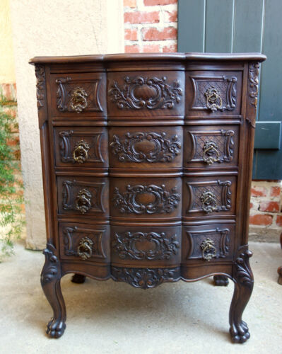 Antique French Carved DARK Oak Chest of Drawers Louis XV End Table Nightstand<br/>1900-1950 - 66854