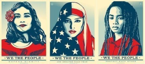 Shepard Fairey WE THE PEOPLE ・GREATER DEFEND PROTECT Set OF 3 Prints VERY RARE!