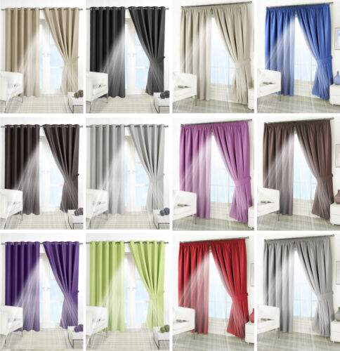 THERMAL BLACKOUT CURTAINS Eyelet Ring Top OR Pencil Pleat FREE Tie backs <br/> Range of 12 Colours and All Sizes - FREE Tie Backs !