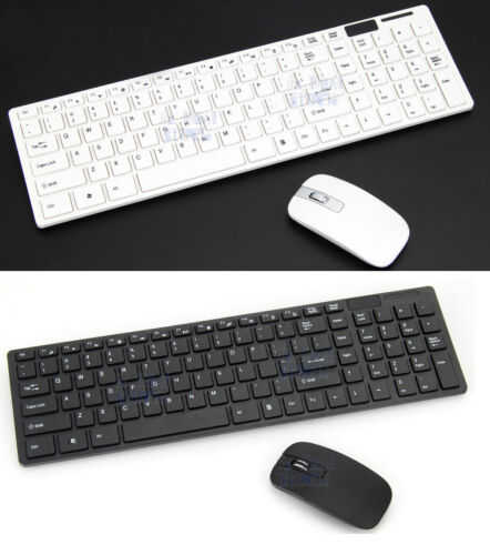 Wireless Keyboard and Cordless Optical Mouse for PC Laptop Win7/8/10 B & W Slim