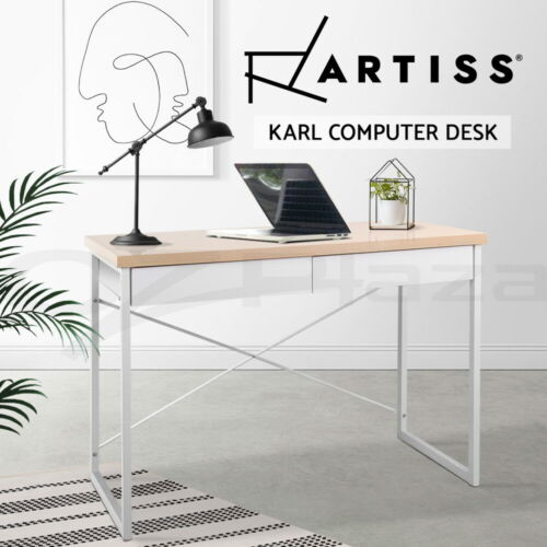Office Computer Desk Metal Study Student Home Table Business Cabinet White Oak <br/> 5% off may apply! Use PICK5 in checkout. T&amp;Cs apply
