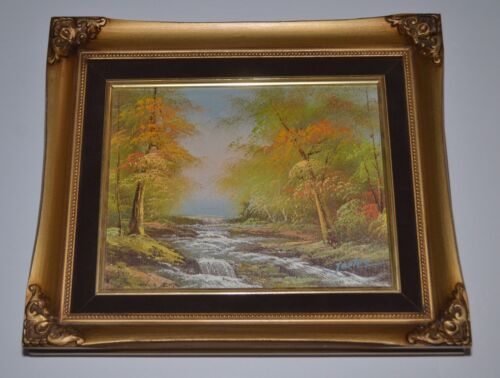 """AUTUMN FALL STREAM in WOODS ORIGINAL FRAMED OIL PAINTING Beautiful 12"""" x 14"""""""