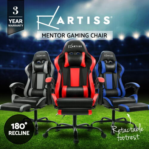 Gaming Chair Office Computer Seating Racing PU Leather Executive Racer Footrest <br/> 20% off with code PILATES. Ends 26/09. T&amp;Cs apply.